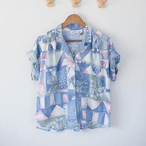 Vintage Watercolor Button-Up Shirt